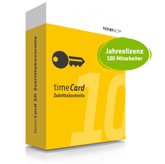 TIMECARD 10 ZUTRITTSKONTROLLE JAHRESLIZENZ FÜR 100 MITARBEITER