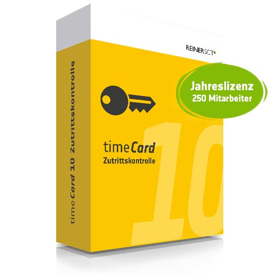 TIMECARD 10 ZUTRITTSKONTROLLE JAHRESLIZENZ FÜR 250 MITARBEITER